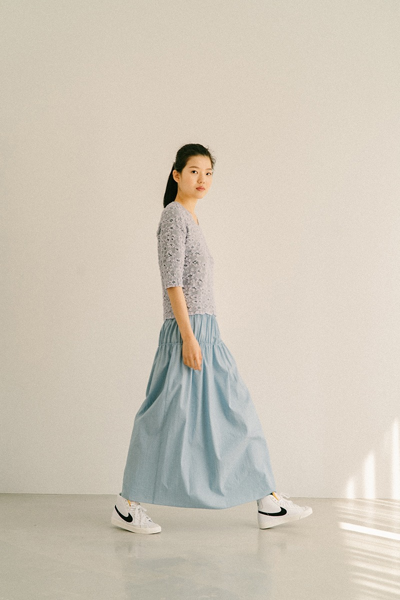 LIGHT BLUE SMOKED COTTON LONG SKIRT