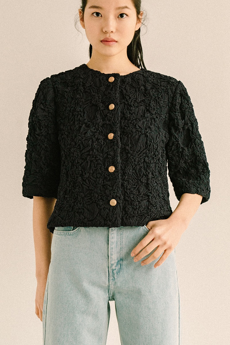BLACK CRINKLE TEXTURED JACKET