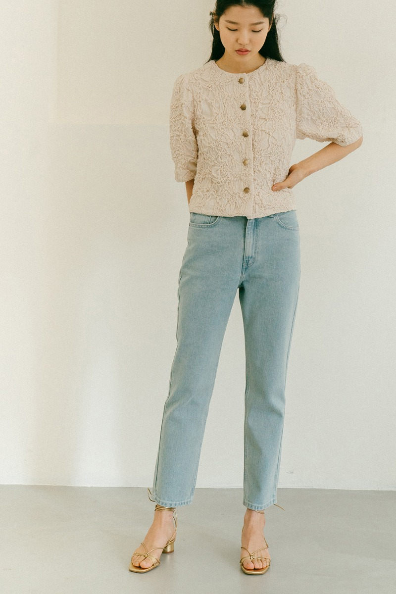 LIGHT BLUE BASIC STRAIGHT DENIM PANTS