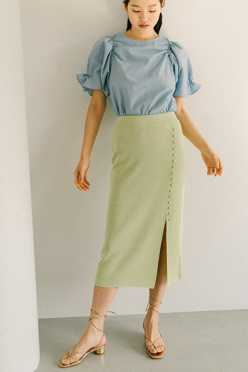 YELLOW GREEN ECO VISCOSE BUTTON DETAIL KNIT SKIRT