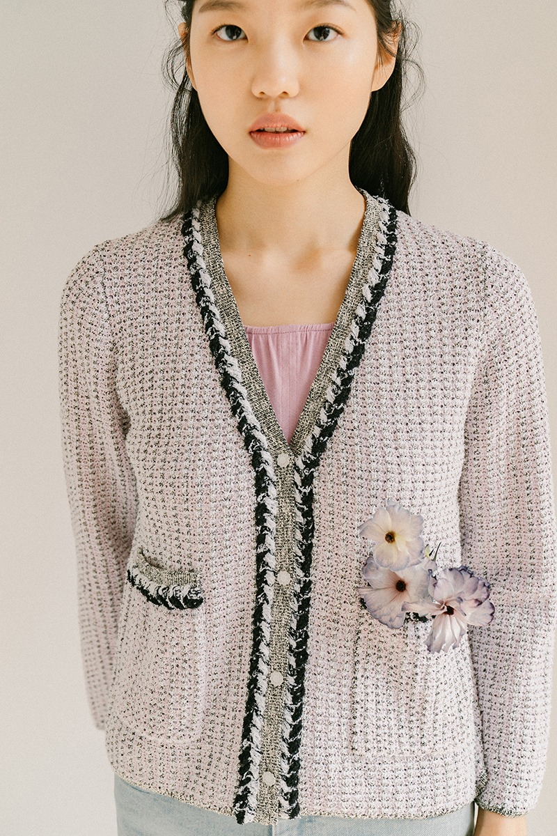 BLACK ORGANIC COTTON TWEED CARDIGAN