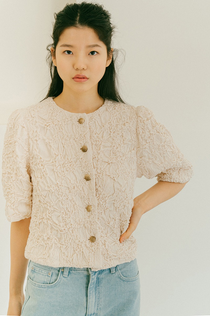 CREAM CRINKLE TEXTURED JACKET