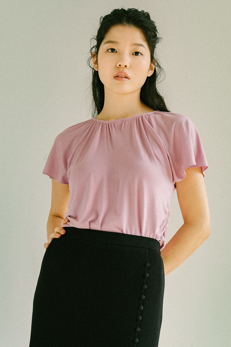 PINK SHIRRING NECK JERSEY TOP