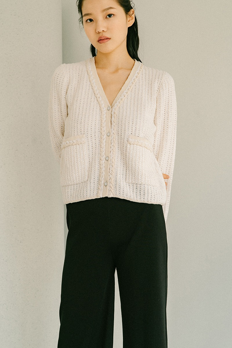CREAM ORGANIC COTTON TWEED CARDIGAN