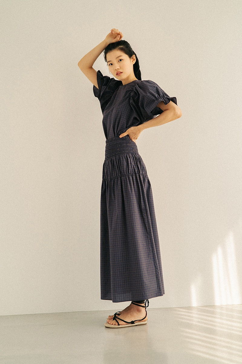 NAVY SMOKED COTTON LONG SKIRT