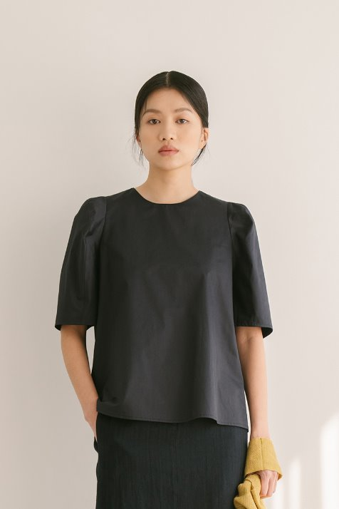 DARK NAVY COTTON VOLUME SLEEVE BLOUSE TOP