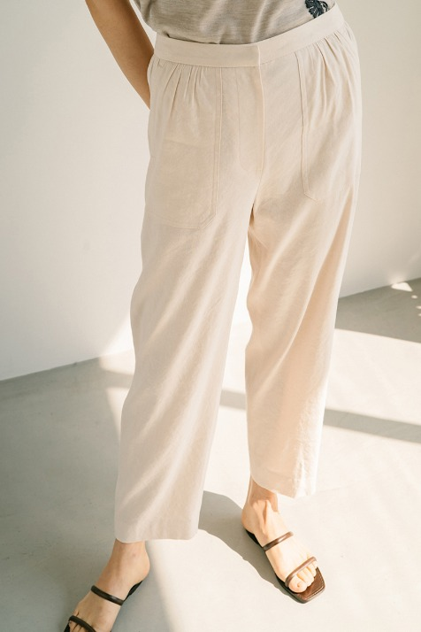 CREAM LINEN BLEND TAPPERED PANTS